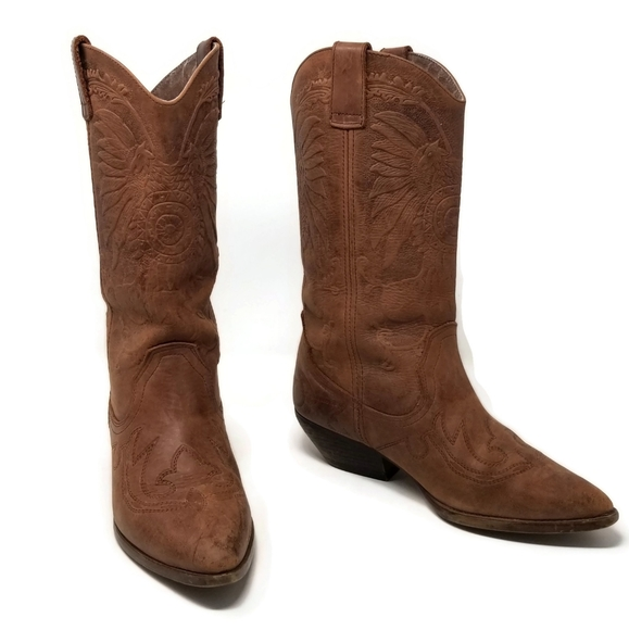 Spiegel Embossed Leather Cowboy Boots Size 9